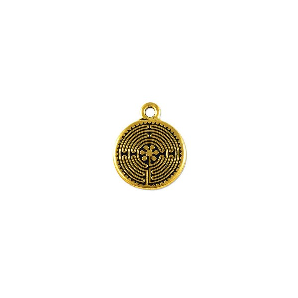 TierraCast Labyrinth Charm 17x21mm Pewter Antique Gold Plated (1-Pc)