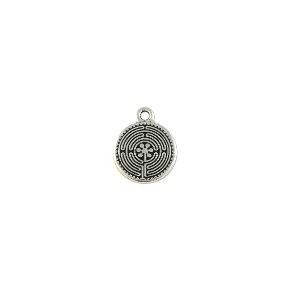 TierraCast Labyrinth Charm 17mm Pewter Antique Silver Plated (1-Pc)