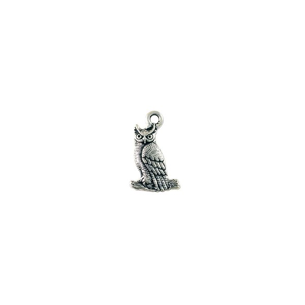 TierraCast Owl Charm 22x14mm Pewter Antique Silver Plated (1-Pc)