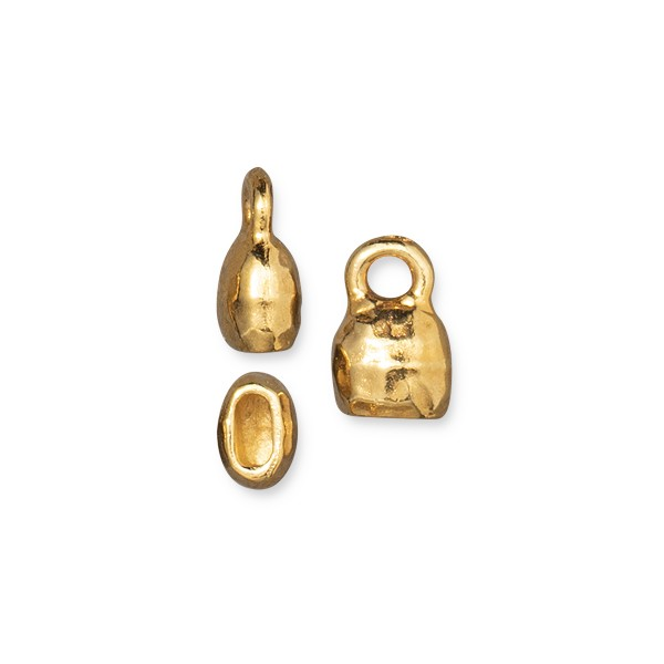 TierraCast Distressed Crimp End Cap 4x2mm Bright Gold (1-Pc)
