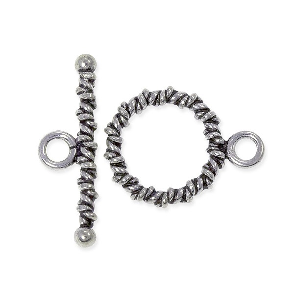 Toggle Clasp - Twisted Rope 14mm Sterling Silver (Set)