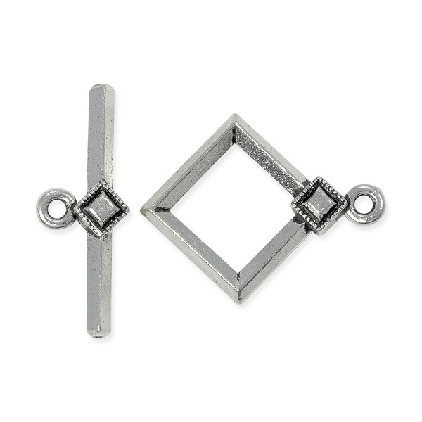 TierraCast Toggle Clasp - Deco Diamond 18mm Pewter Antique Silver Plated (Set)