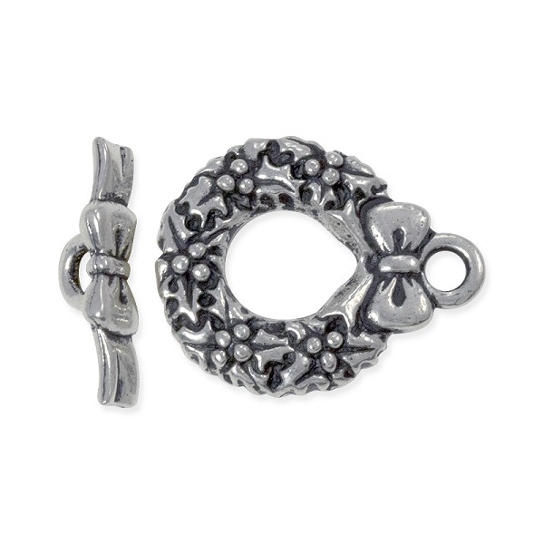 TierraCast Toggle Clasp - Wreath 17mm Pewter Antique Silver Plated (Set)
