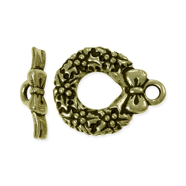 TierraCast Toggle Clasp - Wreath 17mm Pewter Antique Brass Plated (Set)