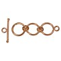 Toggle Clasp  Adjustable -3-Ring 12mm Copper (1-Pc)