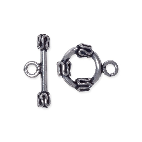 Toggle Clasp Bali Style 12mm Sterling Silver (Set)