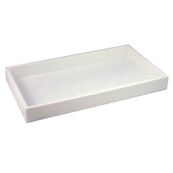 1-½ Inch Tall Standard Size Stackable White Plastic Jewelry Utility Tray