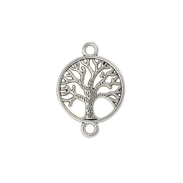 Tree of Life Connector 20mm Pewter Antique Silver Plated (1-Pc)