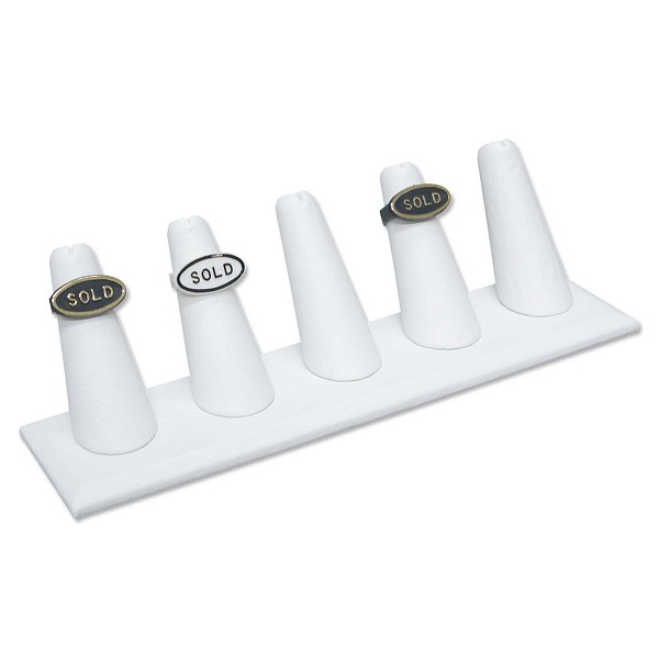 Five Ring Finger Jewelry Display - White